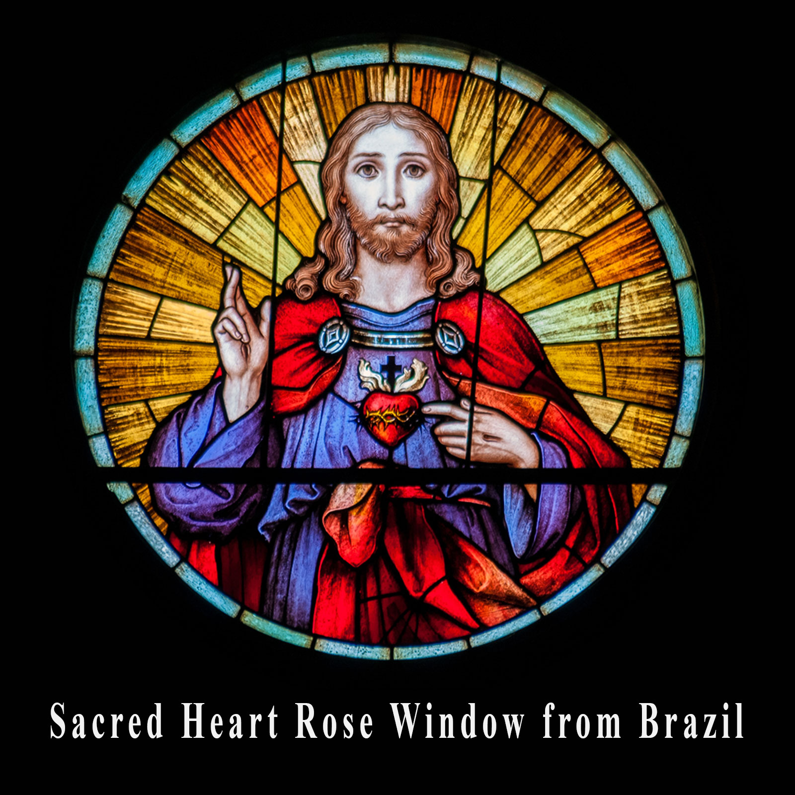 Sacred Heart Stained Glass Window from Brazil