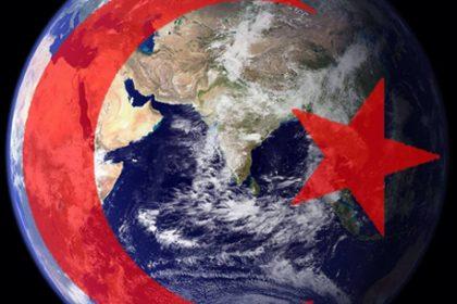 world globe with Islamic flag covering Europe